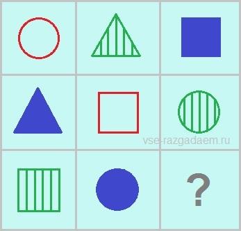 логические головоломки на поиск недостающих фигур