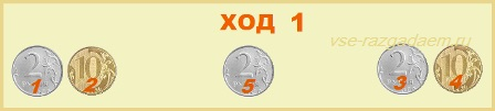 головоломка 5 монет